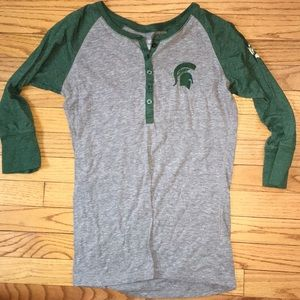 Michigan state baseball button up tee